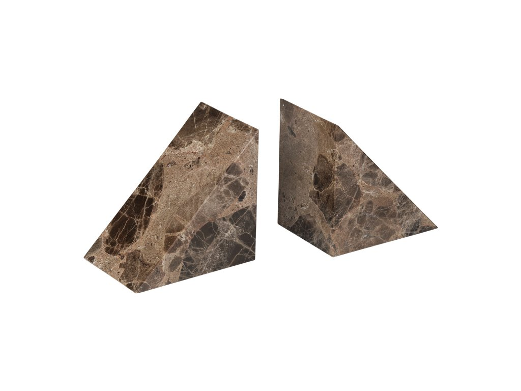 Knižné zarážky mramorové 2 kusy PESA hnedé Blomus