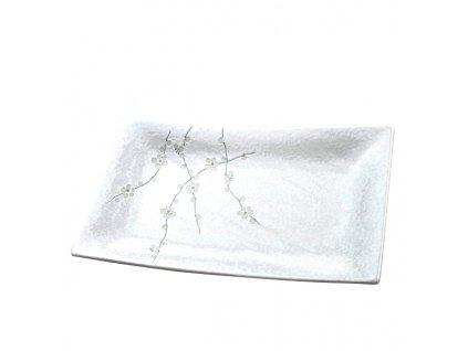 Obdĺžnikový tanier White Blossom 33 x 19 cm MIJ