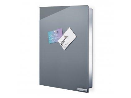 Skrinka na kľúče s magnetickými dvierkami 40 x 30 cm VELIO sivá Blomus