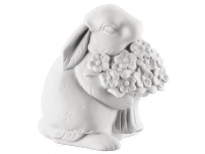 Porcelánový králik s kvetinou Rabbit Collection Rosenthal biely 10 cm