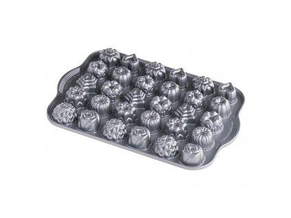Forma na 30 kúskov cukroviniek Tea Cakes and Candies Bundt® strieborná Nordic Ware
