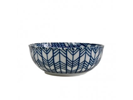 Miska Blue & White Feather Design 16 cm 650 ml MIJ