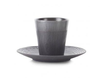 Hrnček na kávu 18 cl s podšálkou grafitový Arborescence REVOL