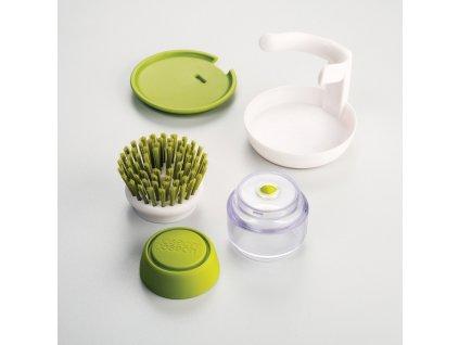 Kefa s dávkovačom saponátu zelená Palm Scrub™ Joseph Joseph