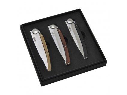 Darčeková súprava vreckových nožov 37 g 3-dielna wood deejo