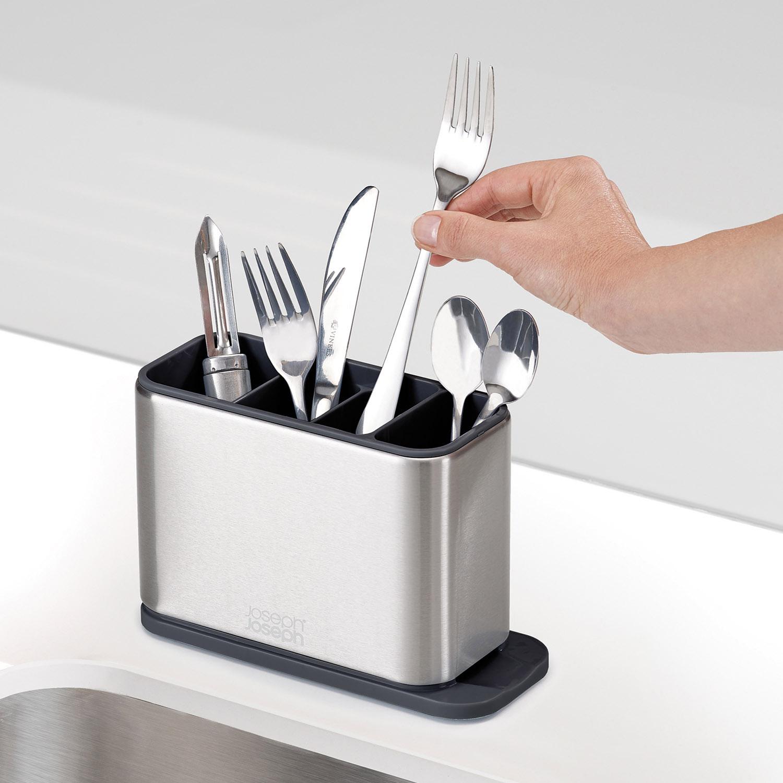 Odkvapkávací stojan na príbory, nože a náčinie z nehrdzavejúcej ocele Surface™ Joseph Joseph