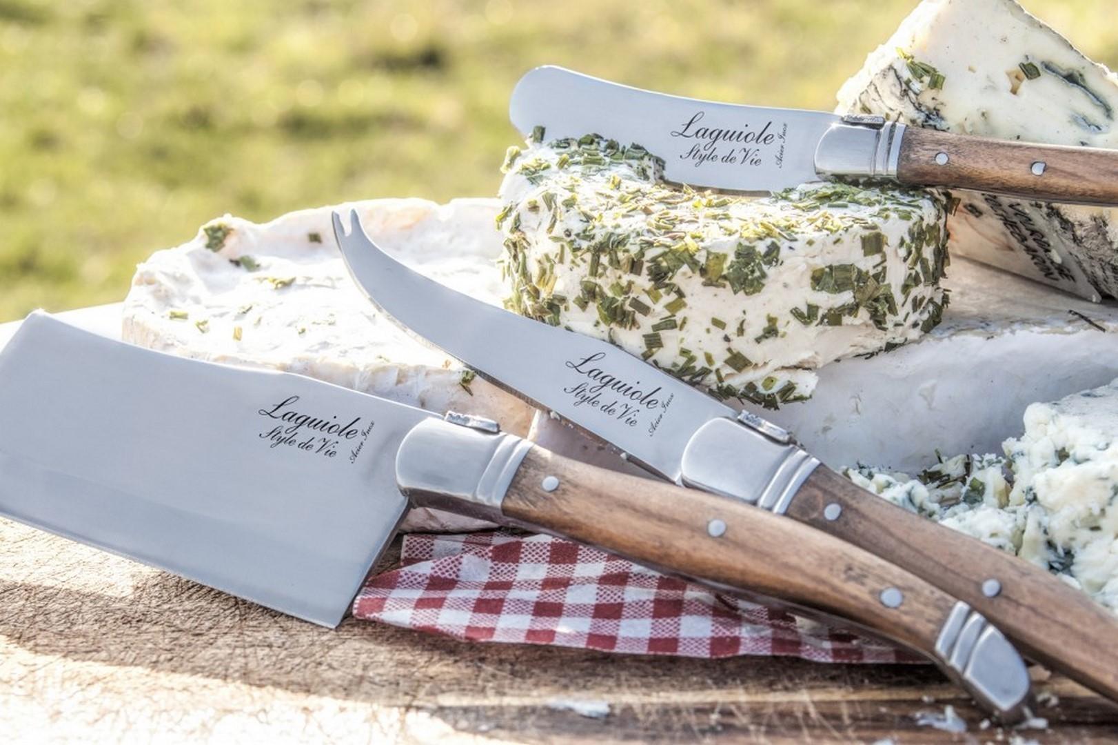 Sada nožov na syr Laguiole Luxury 3 ks olive