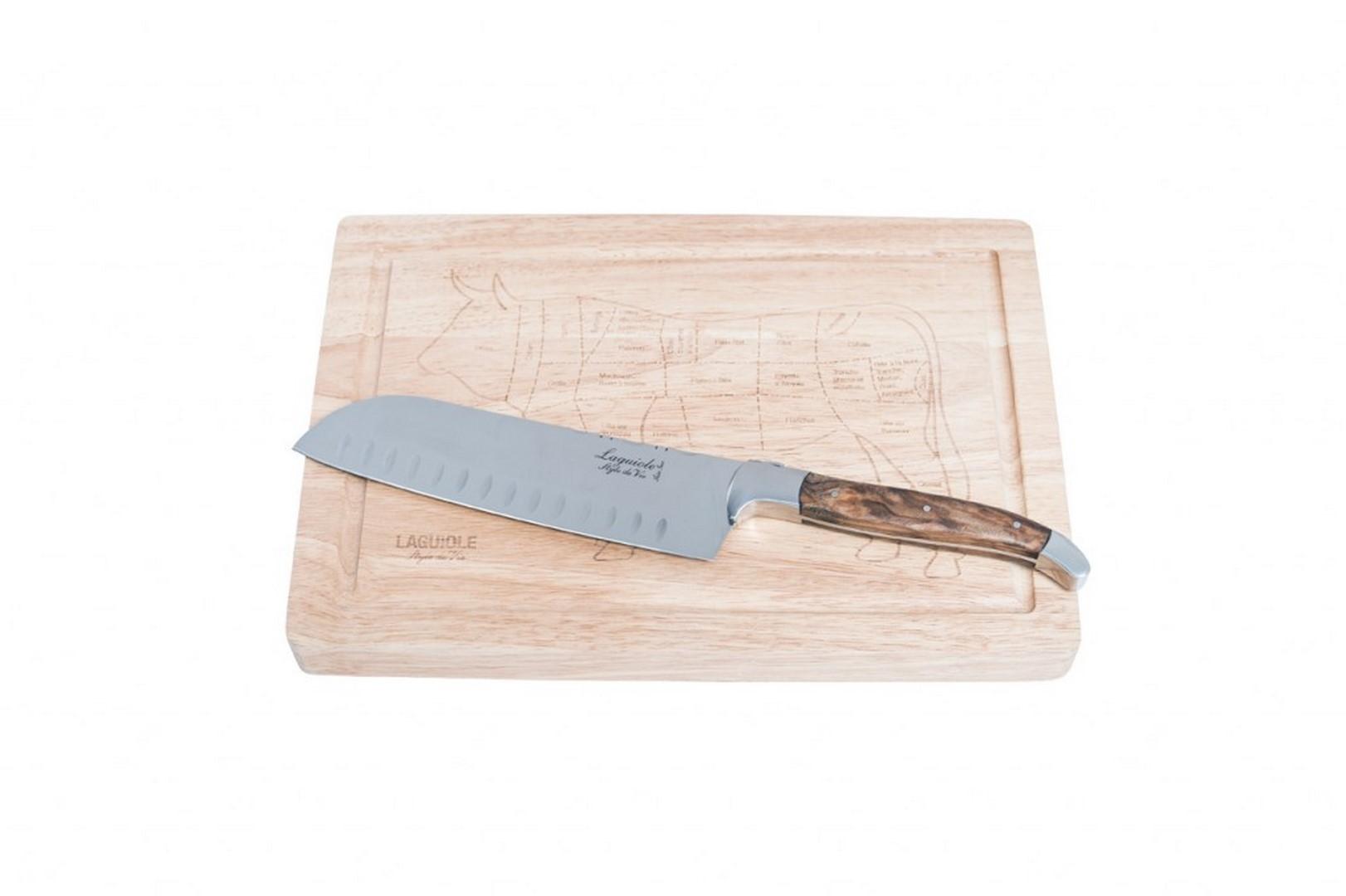 Santoku nôž s doskou Laguiole Luxury 17 cm olive