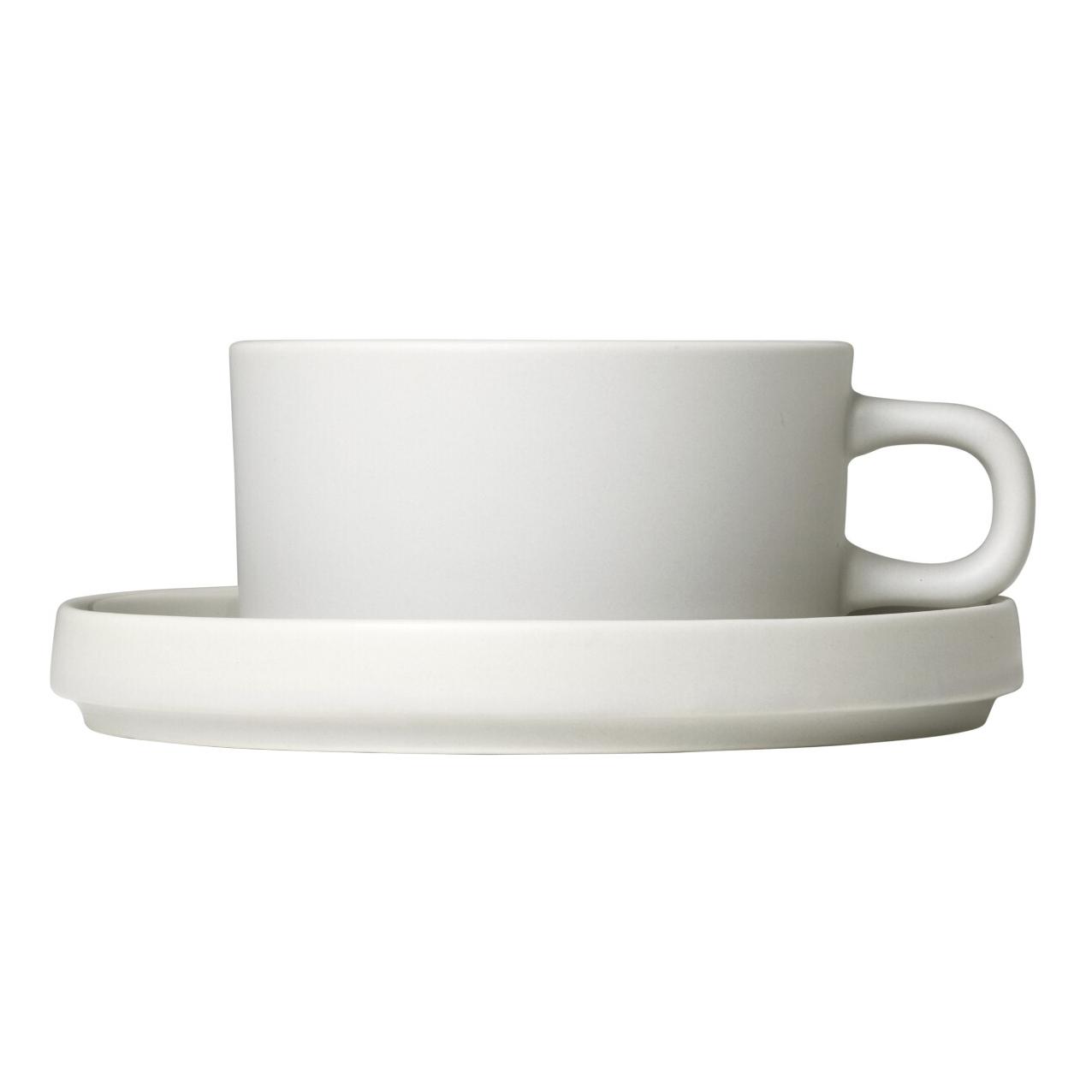Súprava 2 hrnčekov na čaj s tanierikmi MIO krémová 0,17 l Blomus