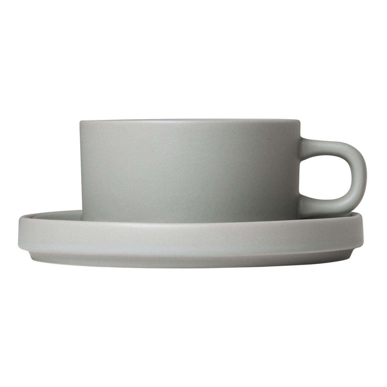 Súprava 2 hrnčekov na čaj s tanierikmi MIO svetlosivá 0,17 l Blomus