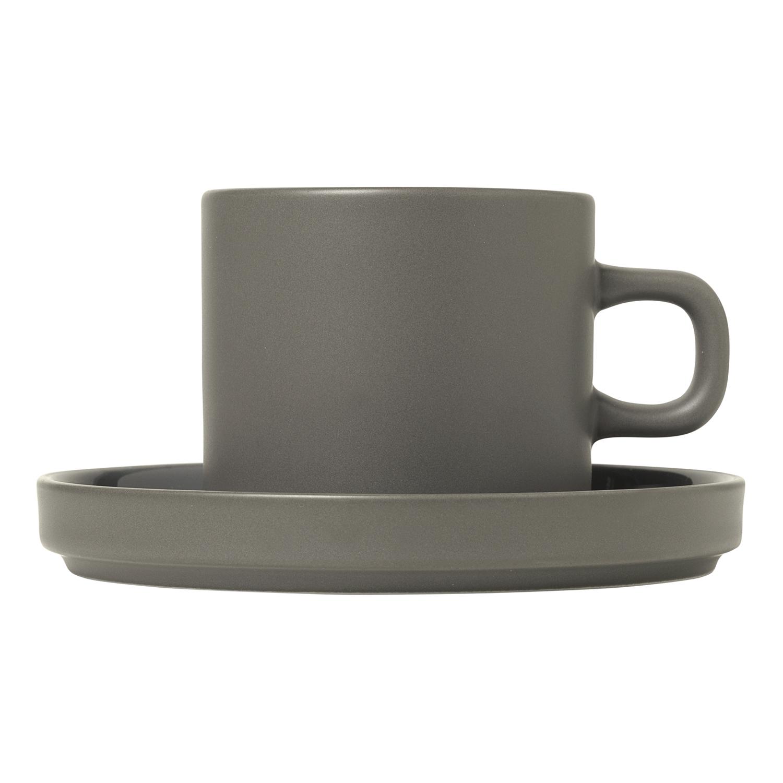 Súprava 2 hrnčekov na kávu s tanierikmi MIO cínová 0,2 l Blomus