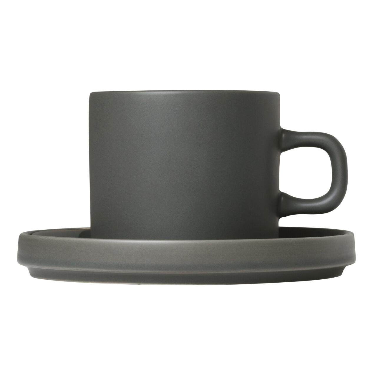 Súprava 2 hrnčekov na kávu s tanierikmi MIO kaki 0,2 l Blomus