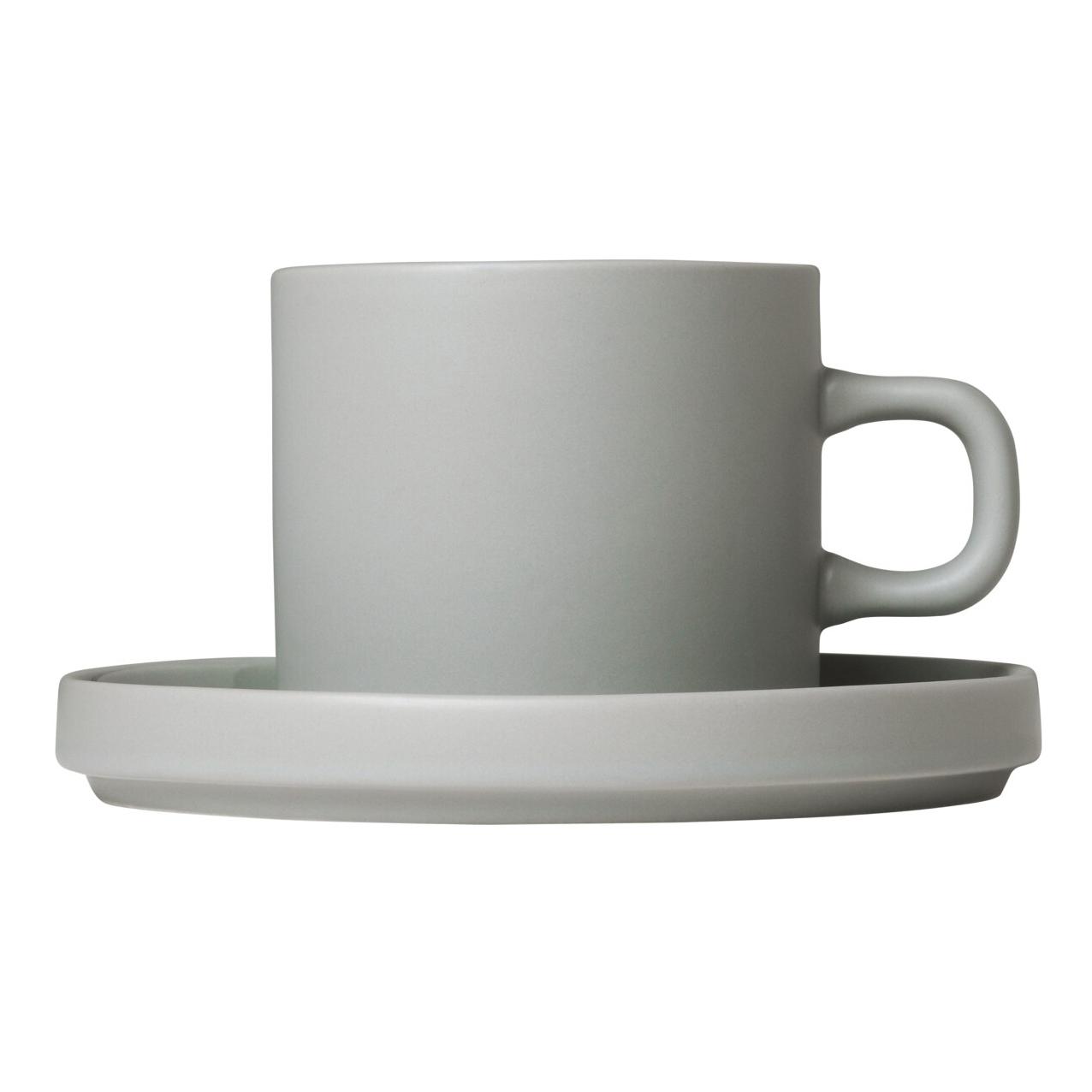 Súprava 2 hrnčekov na kávu s tanierikmi MIO svetlosivá 0,2 l Blomus