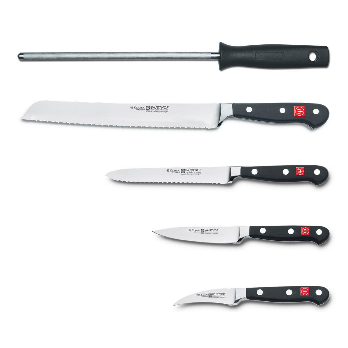 Súprava nožov s hnedým stojanom, vidličkou na mäso, ocieľkou a nožnicami 10-dielna Classic WÜSTHOF