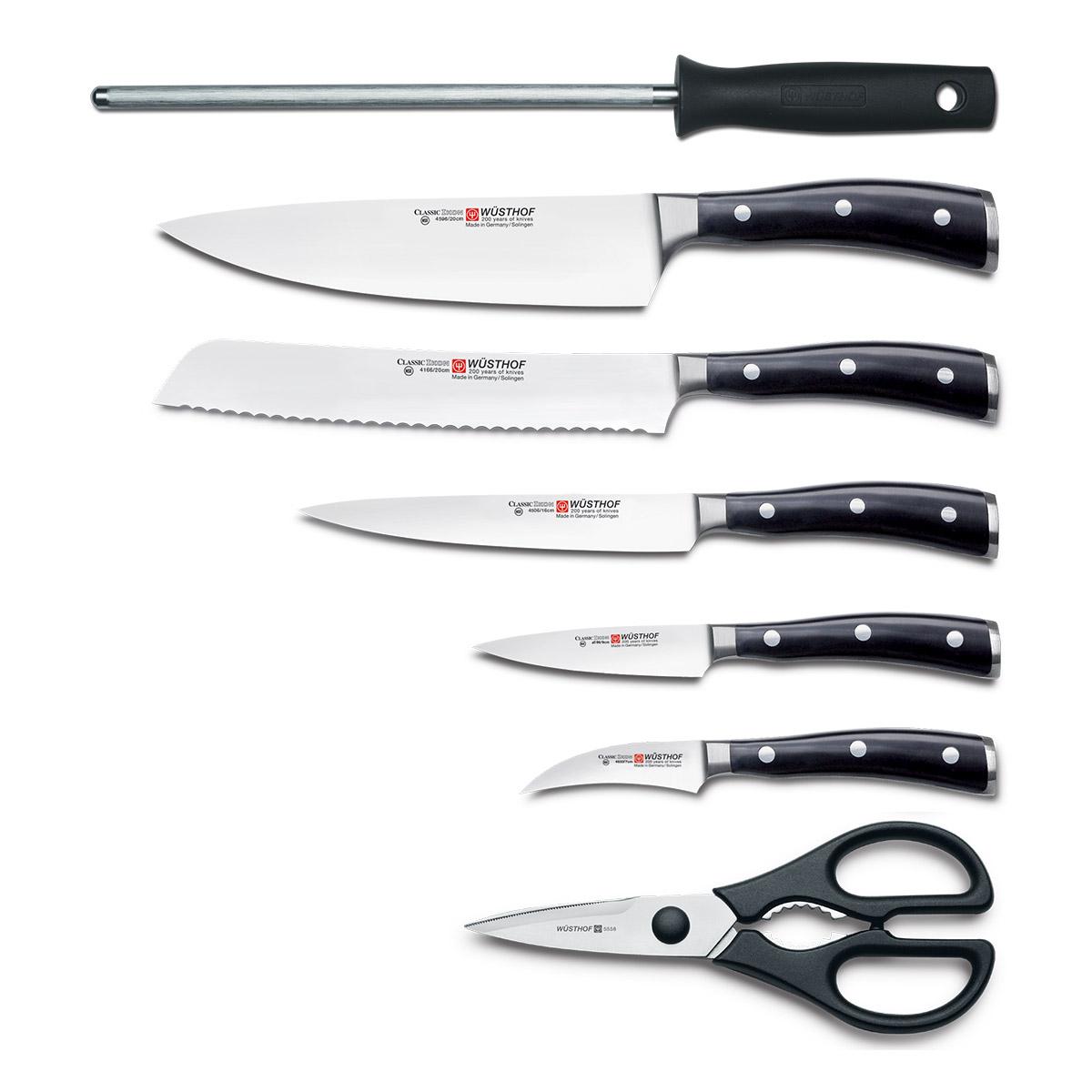 Súprava nožov s ocieľkou, nožnicami a bukovým stojanom 8-dielna Classic Ikon WÜSTHOF - Wüsthof CLASSIC IKON Blok s nožmi 7 ks