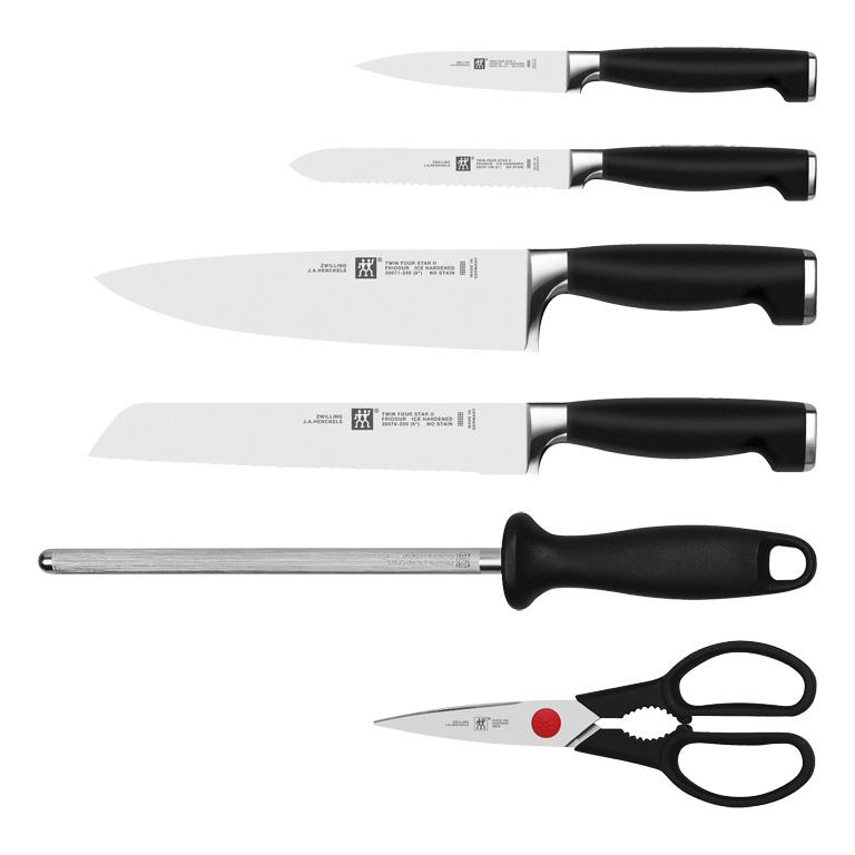 Súprava nožov s stojanom, ocieľkou a nožnicami 7-dielna TWIN® Four Star II ZWILLING - Zwilling TWIN Four Star II blok s nožmi 7 ks