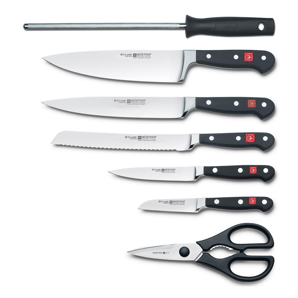 Súprava nožov so svetlým stojanom, ocieľkou a nožnicami 8-dielna Classic WÜSTHOF - Wüsthof Solingen Classic blok se 7 nožmi