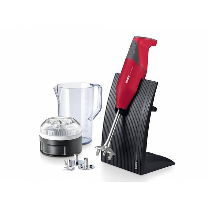 Tyčový mixér Bamix SwissLine M200 červený + Multifunkčný krájač Bamix SliceSy