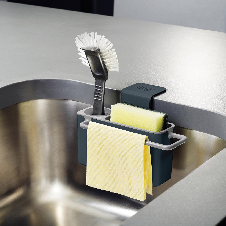 Závesný stojanček na umývacie prostriedky sivý Sink Aid™ Joseph Joseph