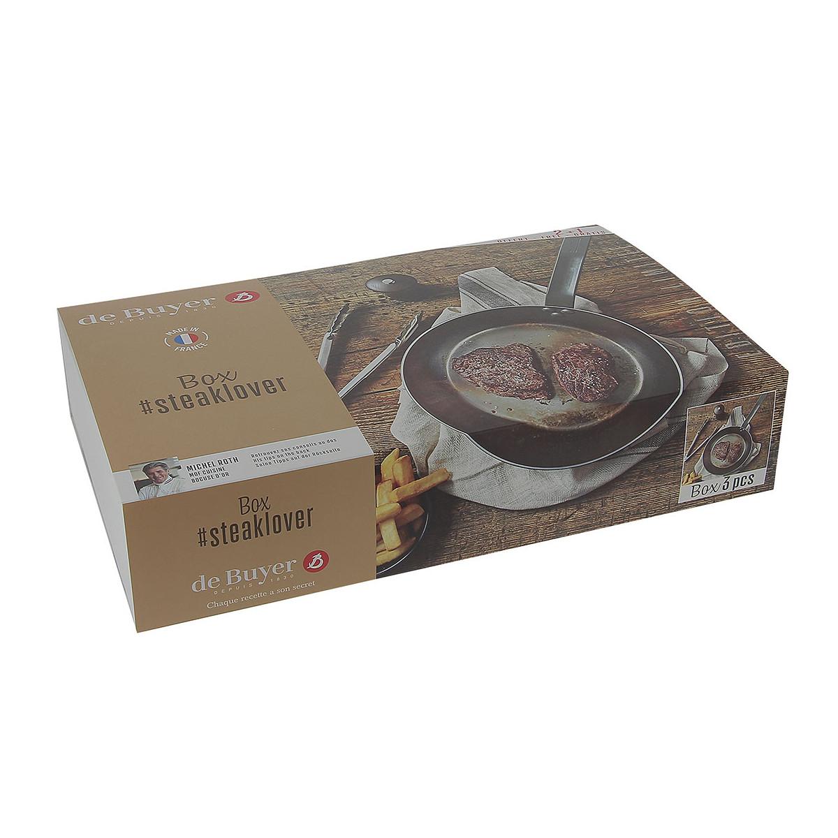 Sada panvice na steaky Mineral B de Buyer 26 cm + mlynček na korenie + kliešte