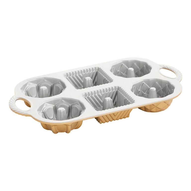 Forma na 6 bábovičiek Geo Bundlette Bundt® zlatá Nordic Ware