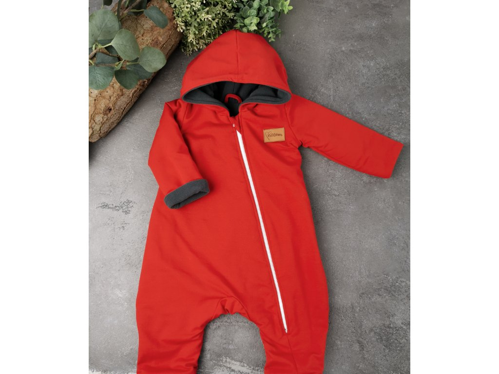 """Overal """"Red,, s microfleece grey"""