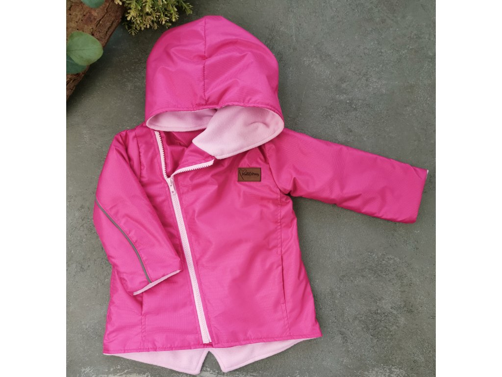 Šusťáková bunda s microfleece Magenta pink