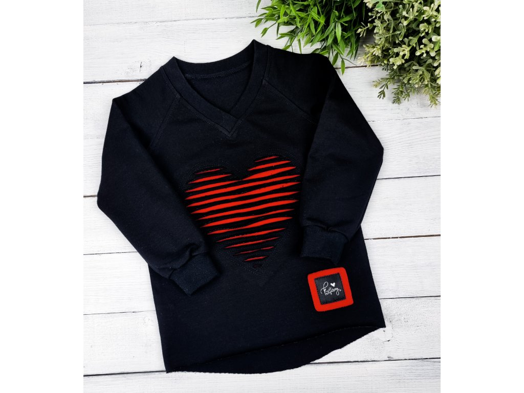 Mikina HEART ,,Black/Red,,