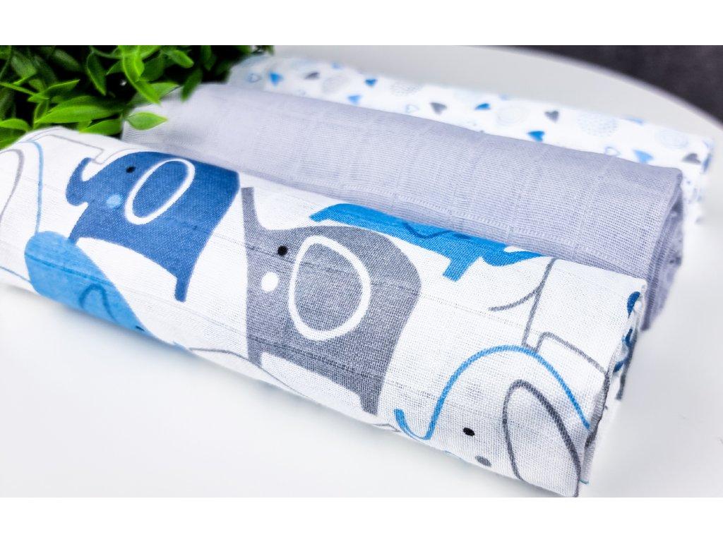 Mušelínové plenky 3ks + žíňka zdarma modra, slon, šedá, srdíčka