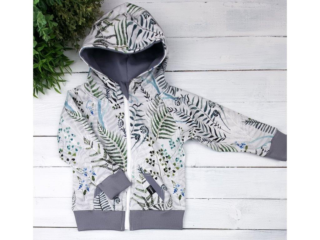 Mikina zipper ,,Ferns,, grey