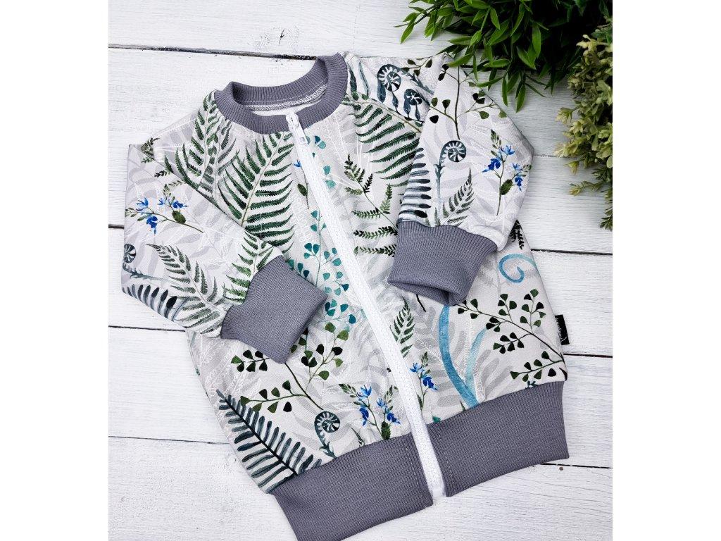 Mikina basic zipper ,,Ferns,, grey