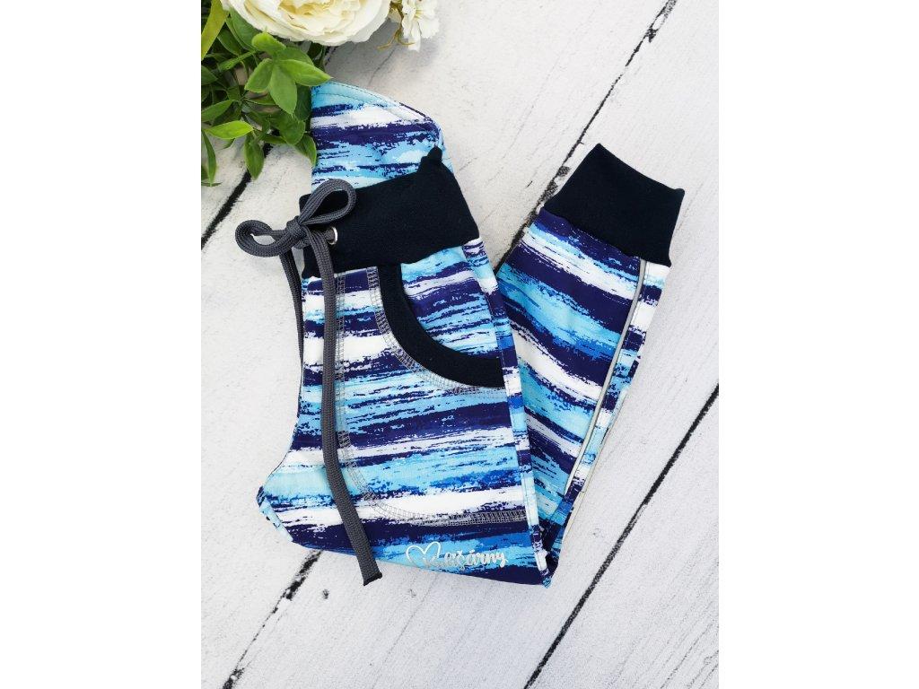 Softshell kalhoty ,,Blue Bars,, s fleecem