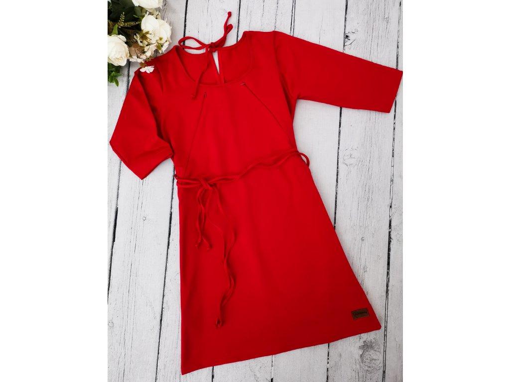 Šaty/tunika dámská ,,RED,, kojicí 3/4 rukáv vel.36 sklad