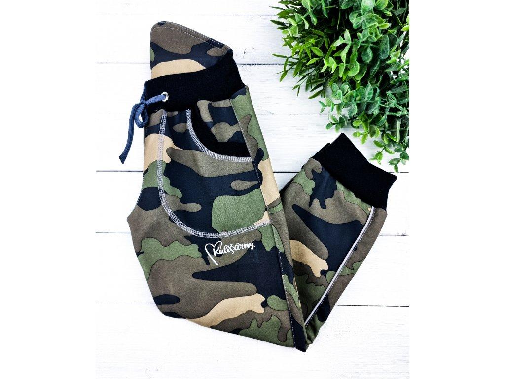 Softshell kalhoty ARMY BLACK s fleecem
