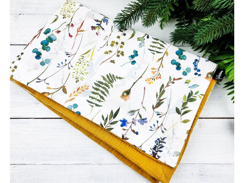 Dětská letní deka s mušelínem ,,Zinnia,, mustard