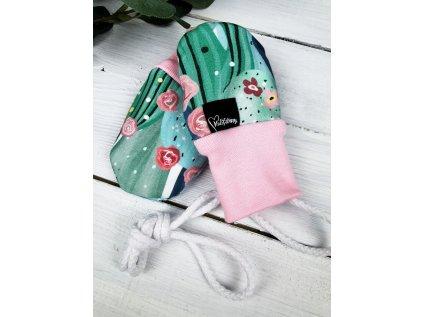 Bezpalcové zateplené rukavice ,,Cactus,, pink