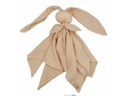 120144 207974 hug me bunny muselinovy mazlik plenka s ousky 65 x 60 cm cappucino