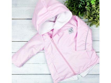 Šusťáková bunda s microfleece baby pink vel.104 sklad