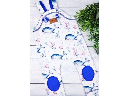Laclové tepláčky se záplátou ,,OCEÁN,, blue vel.86-92 sklad
