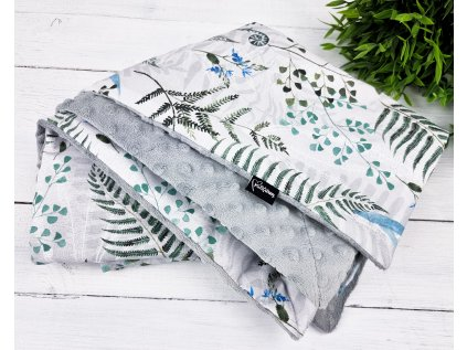 Dětská deka s minky ,,Ferns,, grey