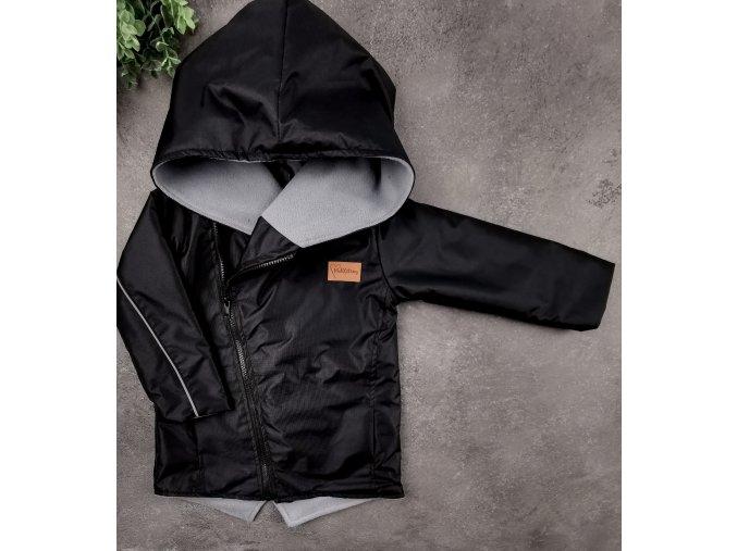 Šusťáková bunda s microfleece Black Grey