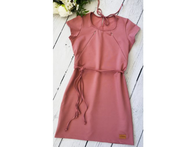 Šaty/tunika dámská ,,OldPink,, kojicí