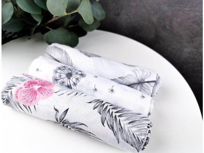 Mušelínové plenky 3ks + žíňka zdarma ,pampeliška, květy, pírka