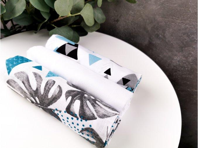 Mušelínové plenky 3ks + žíňka zdarma ,listy, trojúhelník, bílá