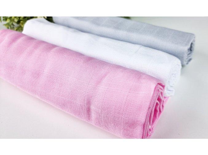 Mušelínové plenky 3ks + žíňka zdarma ,bílá,šedá,růžová