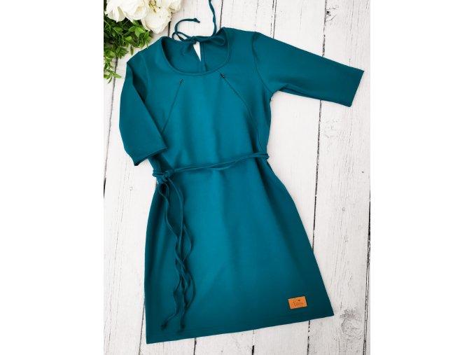 Šaty/tunika dámská ,,TEAL,, kojicí 3/4 rukáv vel.34 sklad
