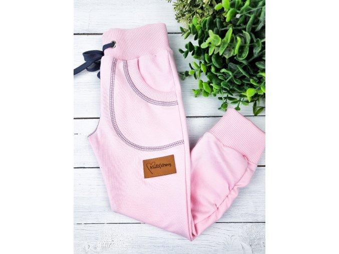 Tepláčky ,,Baby Pink ,, řasené vel. 98-104,116 sklad