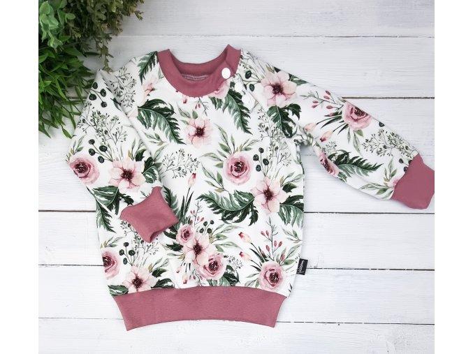 Mikina basic ,,rosantic,, OldPink