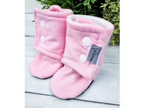 Capáčky s microfleece ,,Baby Pink ,, White
