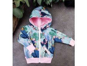 Mikina zipper ,,CACTUS,, baby pink